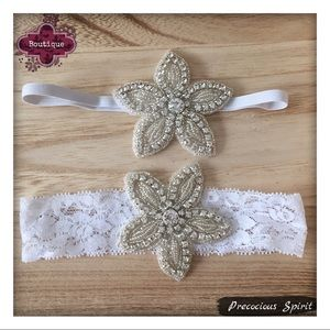 Other - Girls beaded flower white lace stretch headband